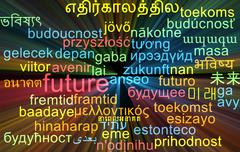 Future multilanguage wordcloud background concept glowing - stock illustration