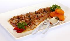 "Peruvian Dish: ""Tiradito Nikkei"" fusion with japanese food. - stock photo"