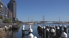 Bolte Bridge and Docklands, Melbourne , Australia Stock Footage