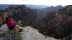 Hiker Girl at Bright Angel Point Grand Canyon North Rim Stock Footage