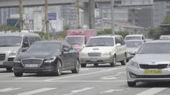 Many cars in front of Seoul Station in Korea Stock Footage