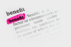 Benefit  Dictionary Definition - stock photo