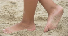 Children, Kids, Are Playing at The Playground, Girl's Feet Closeup, Walking by - stock footage