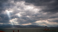 Sunbeams over the saronic gulf Stock Footage