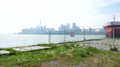 Toronto Skyline From the Ports Hazy Afternoon Stock Footage