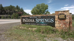 Welcome To Pagosa Springs Sign Stock Footage