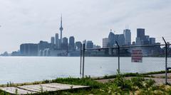 Toronto Skyline From the Ports Hazy - stock photo