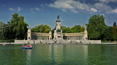 Madrid, Spain. Tourists and locals in El Retiro park Stock Footage