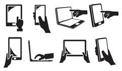 Touch Screen Electronic Devices Vector Icon Set Stock Illustration