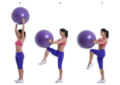 Swiss ball exercise for abs Stock Photos