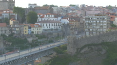 Dom Luis Bridge near the buildings of Porto Stock Footage