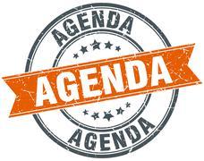 agenda round orange grungy vintage isolated stamp - stock illustration