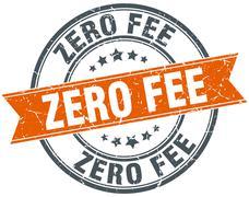 zero fee round orange grungy vintage isolated stamp - stock illustration