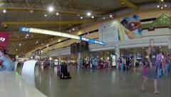 Faro International Airport terminal passengers timelapse Stock Footage