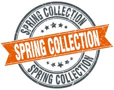 Stock Illustration of spring collection round orange grungy vintage isolated stamp