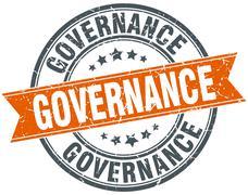 Stock Illustration of governance round orange grungy vintage isolated stamp