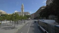 Driving towards the Porto City Hall Stock Footage