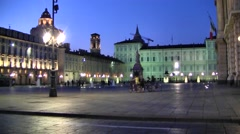 Piazza at dusk, center of Turin, Italy Stock Footage