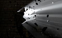 Wall Break Through And Light - stock illustration