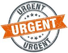 urgent round orange grungy vintage isolated stamp - stock illustration