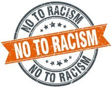 No to racism round orange grungy vintage isolated stamp Stock Illustration