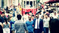 Istanbul Taksim people walk 11 Stock Footage