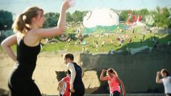 Fitness Dance Class Mirror Reflection Park, Paris Stock Footage