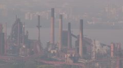 Smog and pollution cover Hamilton Ontario on hot summer day Stock Footage