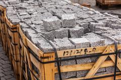 Stock Photo of Road Paving Cobblestones Closeup