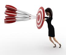 3d woman aim all arrow at center of target board concept - stock illustration