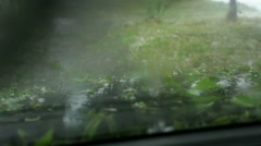 Hail Damaging the Car Stock Footage