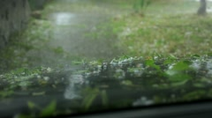 View of the Car that it's Time to a Hail Rain Stock Footage