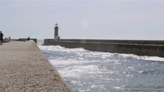 Porto Douro River Jetty View of Senhora da Luz Lighthouse (Medium shot) Stock Footage