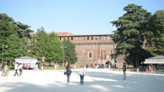Sforza Fortress - view from the Parco Sempione in Milan Stock Footage