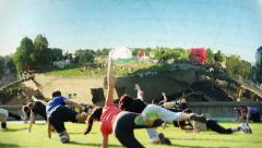 Physical Exercise Fitness Team Park, Paris - stock footage