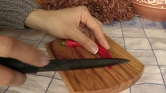 Cutting of hot pepper Stock Footage
