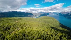 Beautiful Nature Norway.Flying over the Sognefjorden. - stock footage
