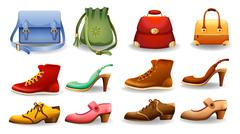 Shoes and bags - stock illustration