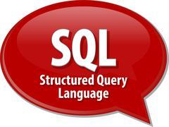 SQL acronym definition speech bubble illustration - stock illustration