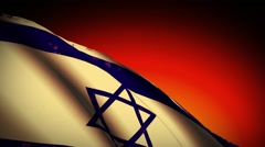 Israel Flag Waving, old, grunge look sunset Stock Footage