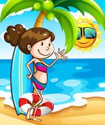 Girl on beach Stock Illustration
