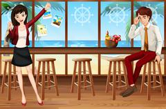 People and bar - stock illustration