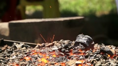 Close-up Shot of a Furnace With Hot Flaming Coal Stock Footage