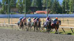 Horse Racing - Eight Jockeys at Track Challenge - stock photo