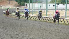 Horse Racing - Five Jockeys at Chase Line - stock photo