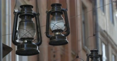 Vintage Lamps, Kerosene Lamps, Hanging at the Street, Decor, Decoration Stock Footage