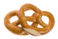 Pretzels isolated on white - stock photo