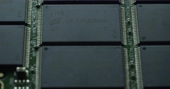 Close up macro panoramic shot SSD memory board Stock Footage