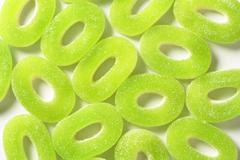 Sour gummy apple rings Stock Photos