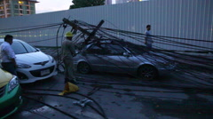 THAILAND ROAD STORM POWER LINE DAMAGE - stock footage